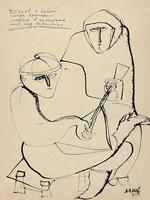 Бочков с бабой. 1963. Бумага, тушь. 40,5х28,5.  Собрание автора