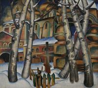 Пейзаж с церковью. Персональная выставка О. Амосовой-Бунак в Центральном Доме художника
