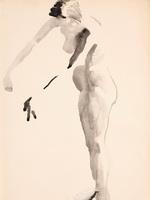 Стоящая натурщица с опущенной головой. 1926