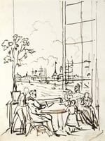 Воробьев М.Н. Автопортрет с семьей. 1828. Бумага, галловые чернила, перо. 21,8 x 16,9.