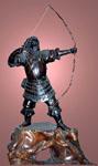 Айн, стреляющий из лука. Япония XIX в. Медь подставка из корня персика