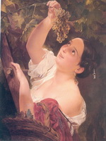 К.П.Брюллов. Итальянский полдень. Итальянка снимающая виноград. 1827. Холст,масло. 64х55