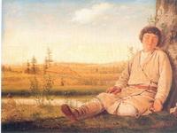 Экспозиции: А.Г.Венецианов. Спящий пастушок. Между 1823 и 1826. Дерево, масло. 27, 5х36,5