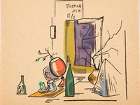 Жолткевич Л.А.  Натюрморт с бутылкой. Гравюра с раскраской, 1923 год.