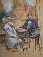 Дмитрий Налбандян  «Толстой и Горький в Ясной  Поляне», эскиз, 1954