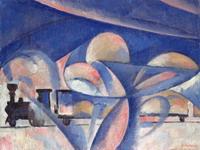 Ольга Владимировна Розанова (1886-1918) Композиция с поездом Первая половина 1910-х