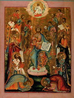 Спас на престоле, с предстоящими святыми (Деисус). Конец XVIII-начало XIX вв. Дерево, темпера