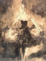 М.К. Соколов. Балерина. 1930-е. Бумага, тушь. 20,1х16,4