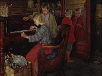 Богданов-Бельский Н.П. Дети за пианино. 1918.