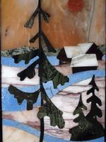 Мозаичное панно  Зимний вечер. Серийный выпуск. Виолан, кварцит, яшма. 2006 г.