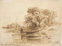 Экспозиции: Васильев Ф.А. Речка. 1869-1871. Бумага, сепия, перо. 14,1 x 21,9.