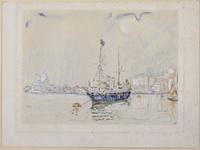 Поль Синьяк (1863-1935). Парусник с флагами в венецианской лагуне. 1906