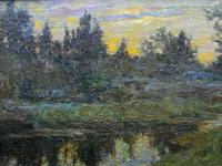 Петр Петровичев. Лесное озеро на закате