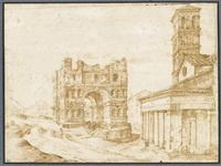 Ян Брейгель Старший (1568-1625). Храм Януса и собор Сан-Джорджио-ин-Велабро в Риме. Около 1593.