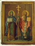 Икона Св. равноапостольные Кирилл и Мефодий, автор: Григорий Журавлев, 1885г