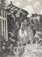 Борисов-Мусатов В.Э. У беседки. 1904-1905. Бумага, тушь, перо. 19,1 x 14.