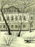 М.К. Мавровская, рисунок Первая квартира братьев Толстых,  из серии Места Толстого в Казани, 1988-1996 гг
