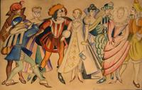 Групповой эскиз костюмов к неизвестному спектаклю. Персональная выставка О. Амосовой-Бунак в Центральном Доме художника
