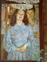 Васильки цветут (автопортрет с женой)