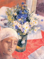 К.С. Петров-Водкин. Натюрморт. С женской головкой.. 1921. Холст, масло. 69,5х51,5
