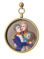 Медальон Миниатюра на тему Тильзитского мира Франция. 1810-е Бронза, эмаль, роспись