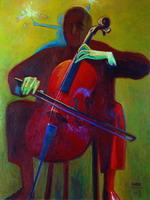 А. Токарев. Большой виолончелист, 1995. Холст, масло. 165 х 130