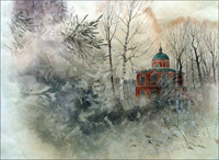 Храм Николы Чудотворца на реке Ржавка. Выставка  В. Чефранова в Зеленоградском музее