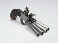 Экспозиции: Пистолет кремневый четырехствольный.  Англия, сер XIX в