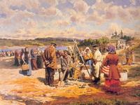 А.В.Маковский. Базар. 1913. Бумага на холсте, масло. 44х48