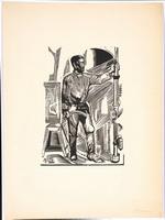 Лапшин Н.И.   Рабочий. Ксилография, 1928 год.