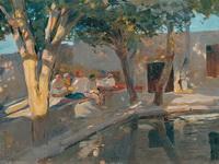 Чацхана. У пруда. 1920-1921.  Холст, масло