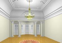 Макет реставрации зала усадьбы Боратынских в Казани