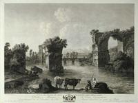 Георг Абрахам Хаккерт. 1755-1805. Германия. Первый вид руин моста Августа в Нарни. 1779. С оригинала Я. Ф. Хаккерта. Бумага верже, офорт, резец.