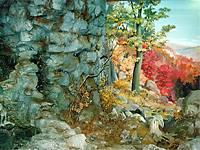 Фрагмент действующего водопада в вестибюле