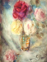 Вера Леонидовна  Яснопольская Натюрморт с цветами, 1950-е, бумага акварель, 43х32