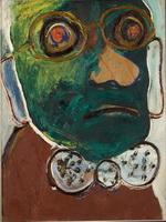 Портрет мужчины в очках и бабочке (Зеленый человек). Оргалит, масло. 38х32. Собрание семьи художника