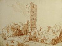 Юбер Робер. 1733-1808. Франция. Развалины средневекового замка. Бумага, сангина.
