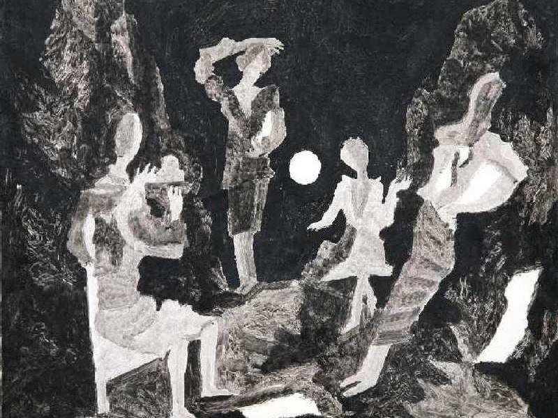 Экспозиции: Борис Кочейшвили. При луне,  мелованная бумага, тушь, кисть. 1976г.
