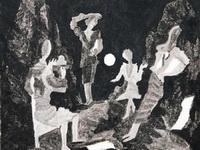 Борис Кочейшвили. При луне,  мелованная бумага, тушь, кисть. 1976г.