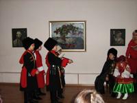 Театрализованное выступление на мероприятии о творчестве В. Сурикова