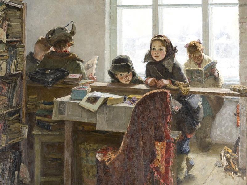 Экспозиции: Шевандропова И.В. В сельской библиотеке. 1954. Х., м. 119х155