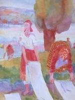 Беление льна, 1910-20-е, б., акв.,29,3х27