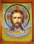 Икона Спас Нерукотворный. Бисер, ткань, бумага, вышивка. 2003 г.