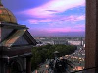 Вечер. На колоннаде Исаакиевского собора