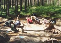Южный Олений остров Онежского озера, студенты на археологических раскопках