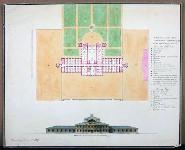 А.Н. Роков. Дом для слепых в Гатчине. Фасад и план первого этажа. 1817.  музей-заповедник «Павловск».