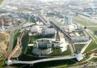 Здания и сооружения: Панорама Казанского Кремля с высоты птичьего полета