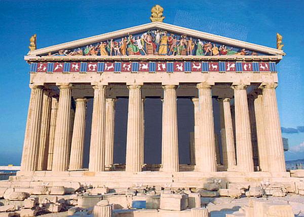 Здания и сооружения: Парфенон. Реконструкция раскраски фронтона и метоп