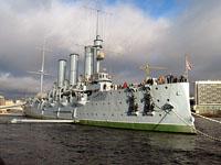 Здания и сооружения: Крейсер 1-го ранга Аврора на вечной стоянке у Петровской набережной. Санкт-Петербург