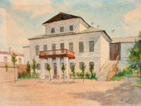Дом Горталовых в Казани, где  в 1841-45 гг. жил Л.Толстой. И. Гусаков. Акварель. 1953 г.